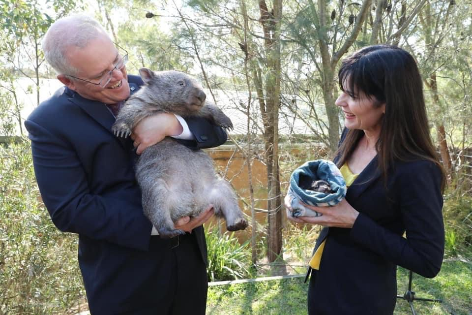 Prime Minister Scott Morrison with Hope the Wombat and Lucy Wicks MP Member for Robertson