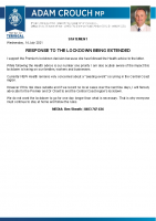 210714 Adam Crouch statement – Response to the lockdown being extended