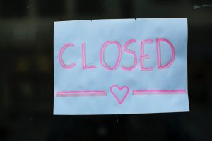 Sign saying closed